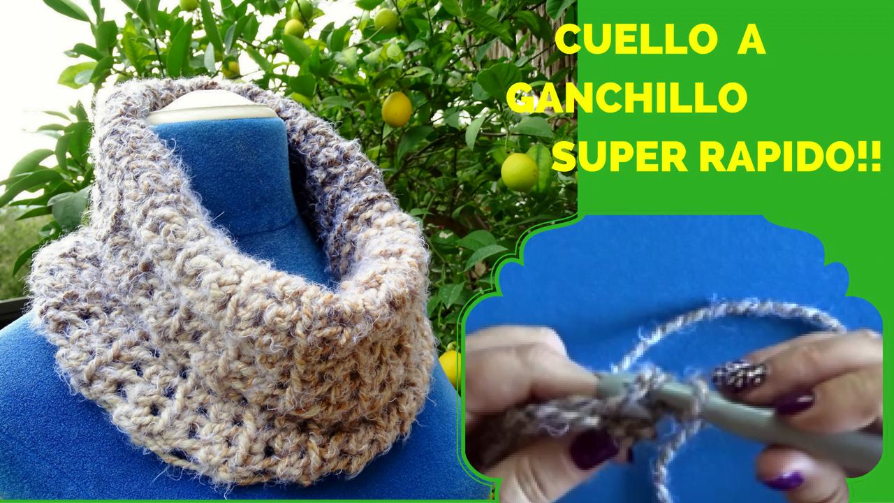 CUELLO A GANCHILLO. SUPER RAPIDO!